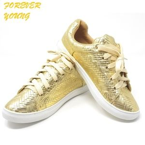 Laced Women's Fashion Walking Shoes, SN-2813 Gold